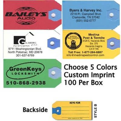 Printed Paper Key Tags For Business 100 Per Box Sanzo